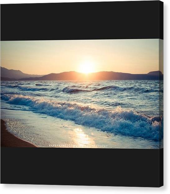 Greek Art Canvas Print - Ocean Waves by Harry Kanelopoulos Photography