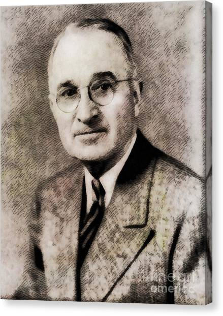 Harry Truman Canvas Print - Harry S. Truman, President Of The United States By John Springfield by John Springfield