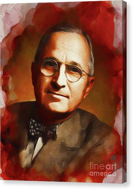 Harry Truman Canvas Print - Harry S. Truman, President Of The U.s.a. by John Springfield