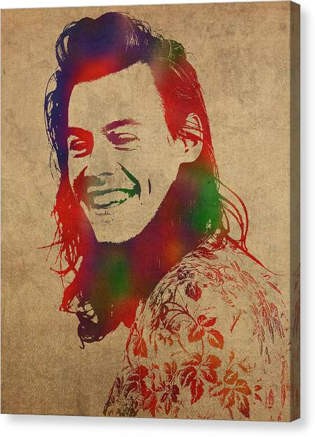 One Direction Canvas Print - Harry Styles Watercolor Portrait by Design Turnpike