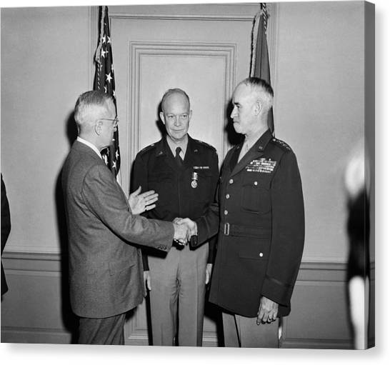 Harry Truman Canvas Print - Harry Truman With Ike And Omar Bradley - 1948 by War Is Hell Store