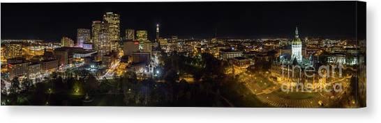 Hartford Ct Aerial Night Panorama Canvas Print