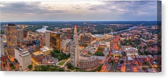 Hartford Ct Downtown Twilight Panorama Canvas Print