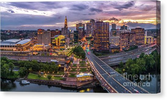 Hartford Ct Riverside And Downtown Twilight Aerial Panorama Canvas Print