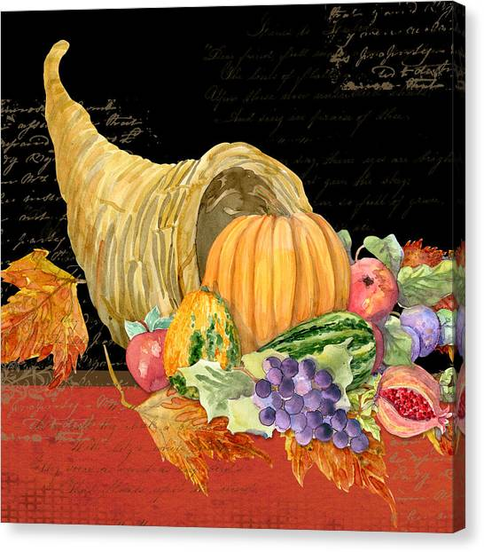 Thanksgiving Canvas Print - Harvest Cornucopia Of Blessings - Pumpkin Pomegranate Grapes Apples by Audrey Jeanne Roberts