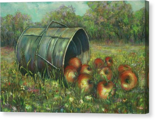 Harvest With Red Apples Canvas Print by Katalin Luczay