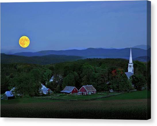 Harvest Moon Over Peacham Vermont Canvas Print
