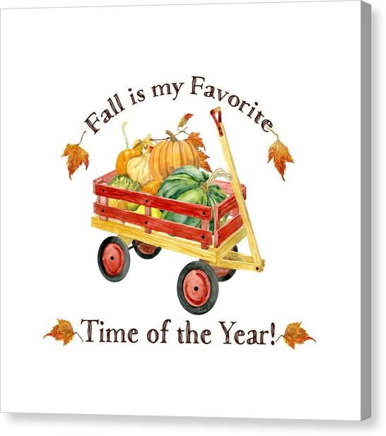 Vegetable Stands Canvas Print - Harvest Red Wagon Pumpkins N Leaves by Audrey Jeanne Roberts