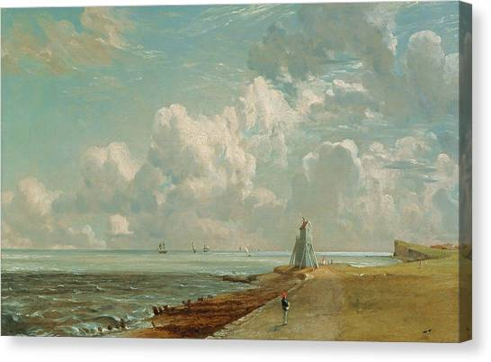 Low Tide Canvas Print - Harwich - The Low Lighthouse And Beacon Hill by John Constable