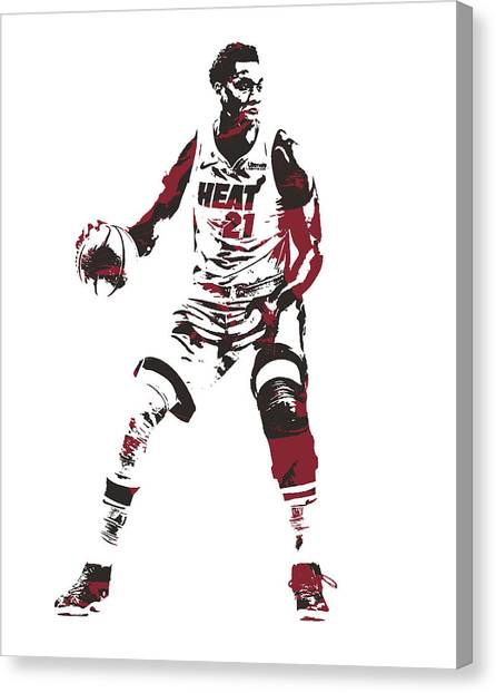 Miami Heat Canvas Print - Hassan Whiteside Miami Heat Pixel Art 10 by Joe Hamilton