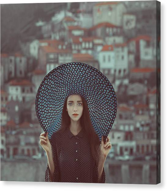 Blue Canvas Print - Hat And Houses by Anka Zhuravleva