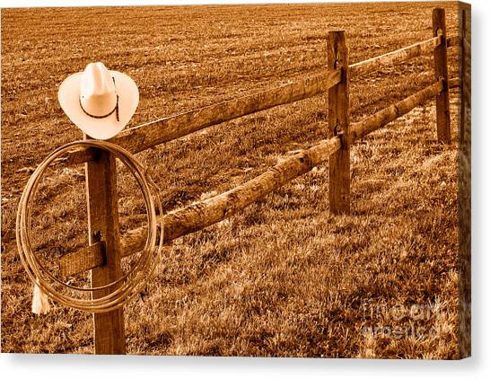 Lassos Canvas Print - Hat And Lasso On Fence - Sepia by Olivier Le Queinec
