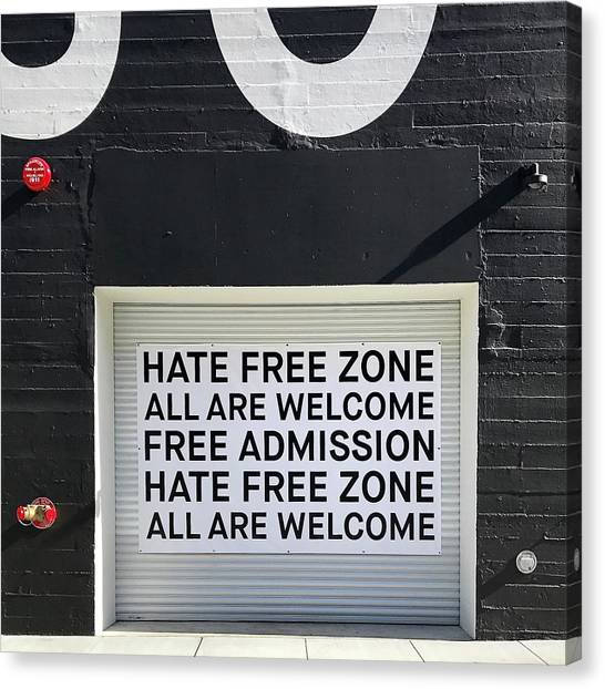 Canvas Print - Hate Free Zone by Julie Gebhardt