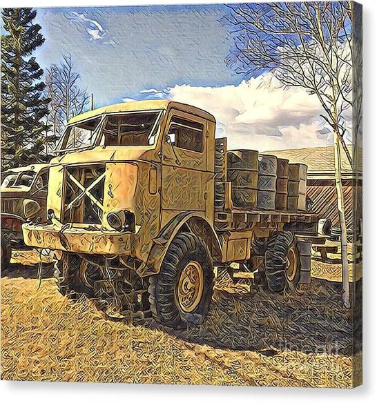 Hauling Oil Barrels On Old Canol Pipeline Project Canvas Print