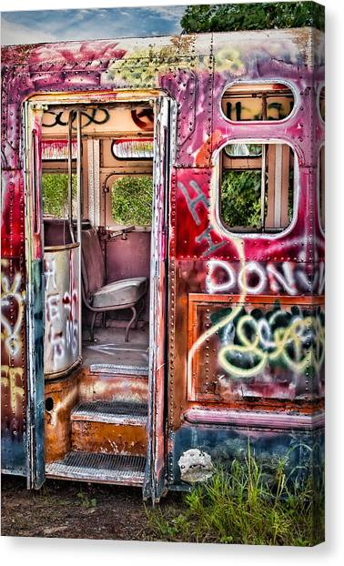 Haunted Graffiti Art Bus Canvas Print