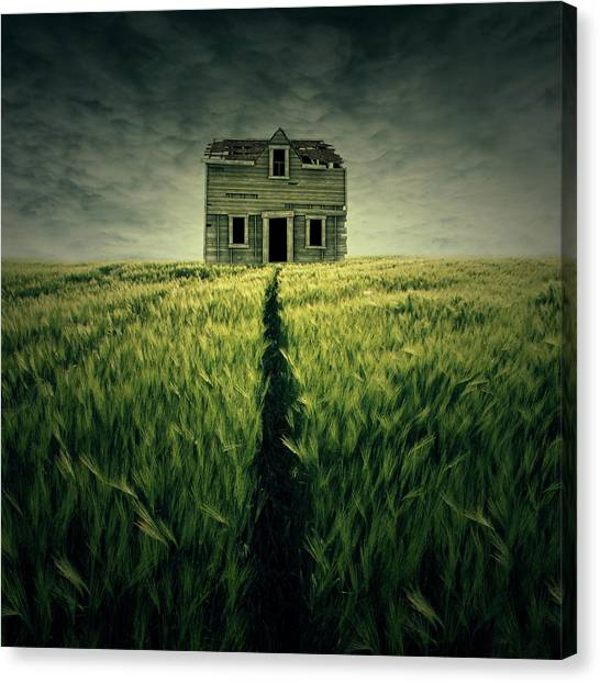 Storm Clouds Canvas Print - Haunted House by Zoltan Toth