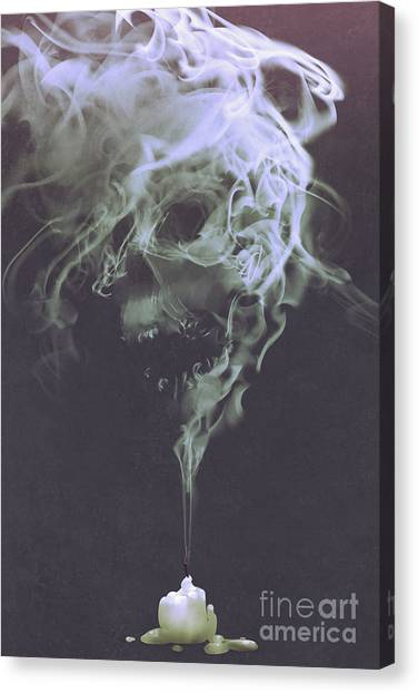 Canvas Print featuring the painting Haunted Smoke  by Tithi Luadthong