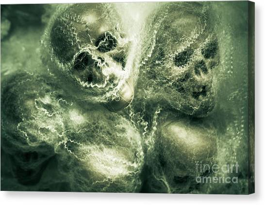 Spider Web Canvas Print - Haunted Undead Skeleton Heads by Jorgo Photography - Wall Art Gallery