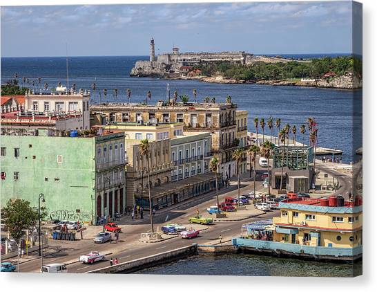 Canvas Print featuring the photograph Havana By The Port by Steven Sparks