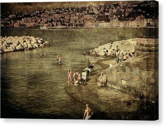 Having A Swim In Naples Canvas Print