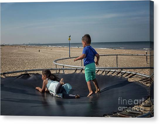 Trampoline Canvas Print - Having Fun On A Trampoline by Patricia Hofmeester