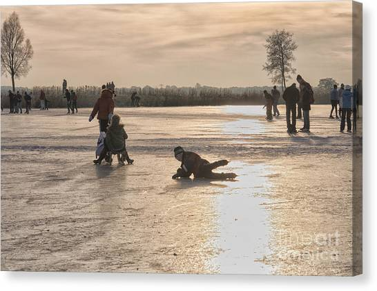 Speed Skating Canvas Print - Having Fun On Natural Ice by Patricia Hofmeester