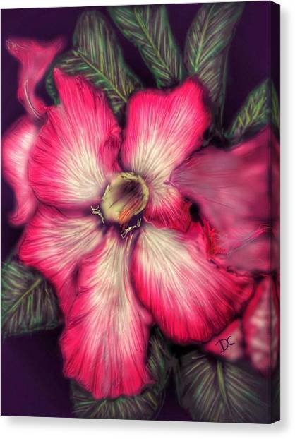 Canvas Print featuring the digital art Hawaii Flower by Darren Cannell