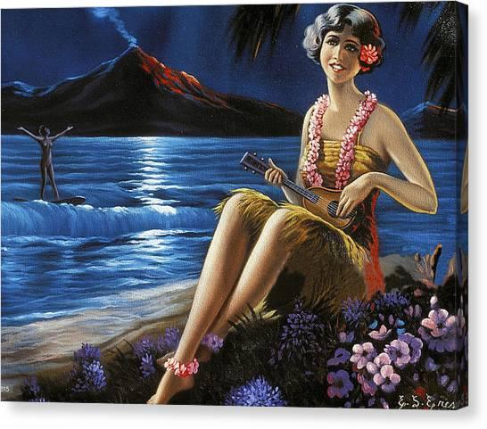Ukuleles Canvas Print - Hawaii, Hula Girl Plays Ukulele At Tropical Beach Night by Long Shot