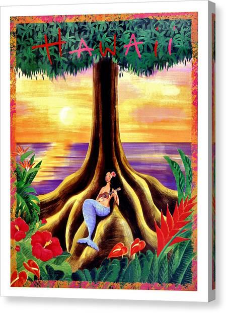 Ukuleles Canvas Print - Hawaii, Mermaid Girl Under A Big Tree by Long Shot