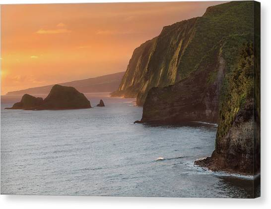 Ocean Sunset Canvas Print - Hawaii Sunrise At The Pololu Valley Lookout 2 by Larry Marshall