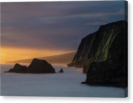 Volcanoes Canvas Print - Hawaii Sunrise At The Pololu Valley Lookout by Larry Marshall