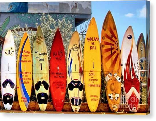 Surfboard Fence Canvas Print - Hawaii Surfboard Fence by DJ Florek