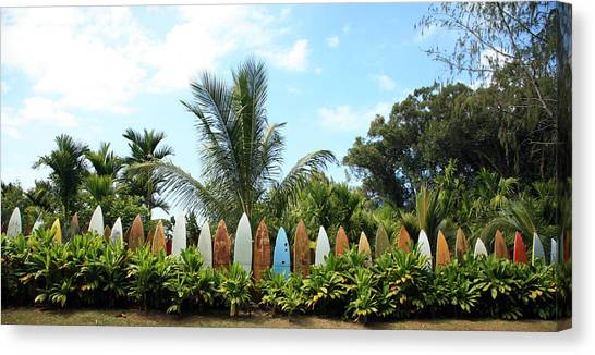 Surfboard Canvas Print - Hawaii Surfboard Fence by Michael Ledray