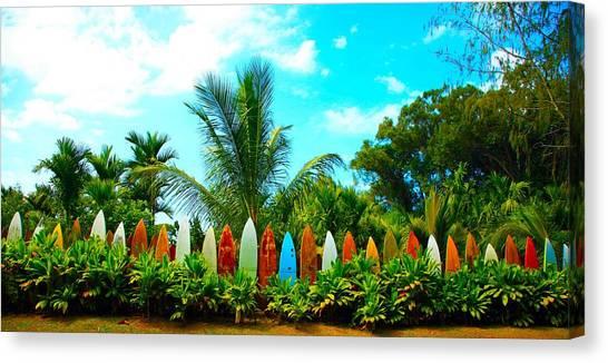 Surfboard Fence Canvas Print - Hawaii Surfboard Fence Photograph  by Michael Ledray