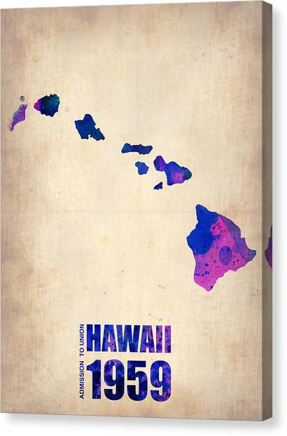 Hawaii Canvas Print - Hawaii Watercolor Map by Naxart Studio