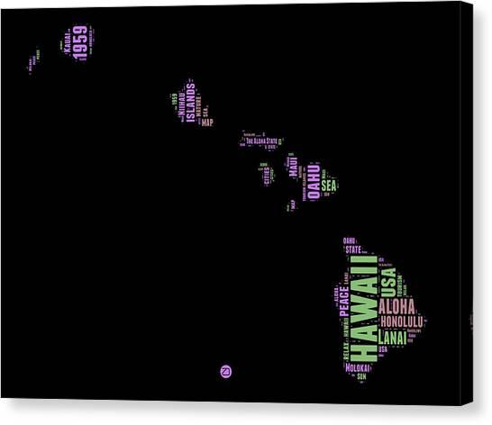 America Map Canvas Print - Hawaii Word Cloud 1 by Naxart Studio
