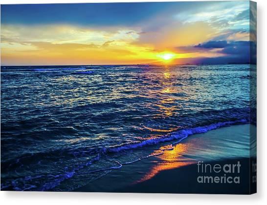Canvas Print featuring the photograph Hawaiian Beach Sunset by D Davila