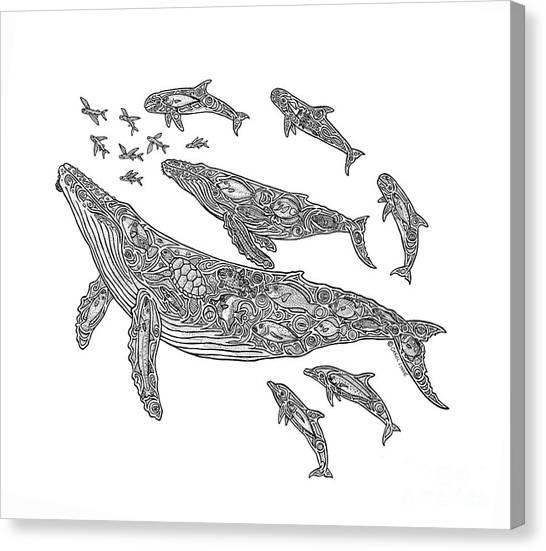 Tropical Beach Canvas Print - Hawaiian Humpbacks by Carol Lynne