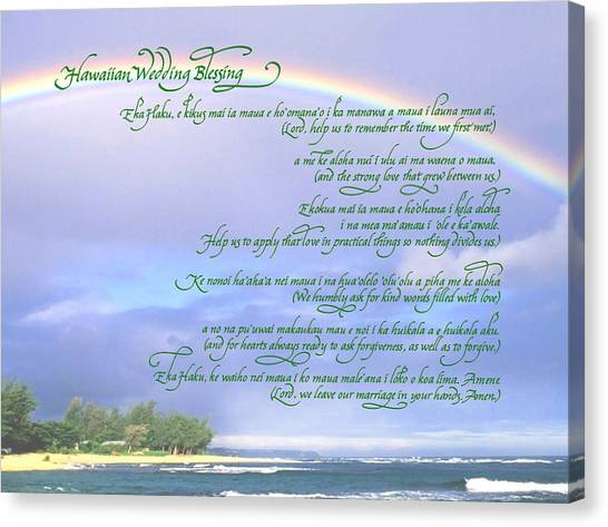 Hawaiian Language Wedding Blessing Canvas Print