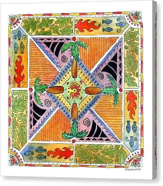 Hawaiian Mandala I - Palm Trees Canvas Print