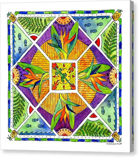 Hawaiian Mandala II - Bird Of Paradise Canvas Print