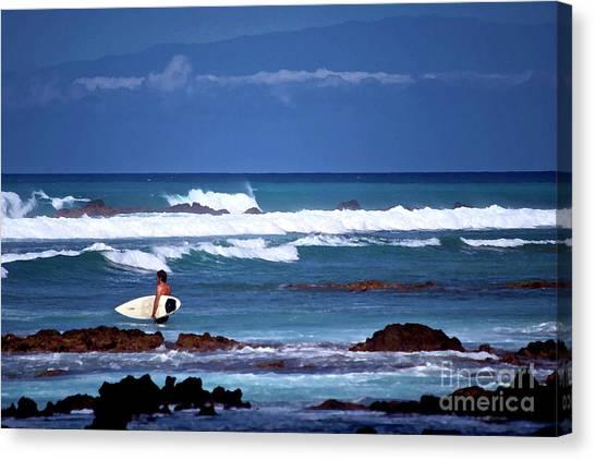 Hawaiian Seascape With Surfer Canvas Print