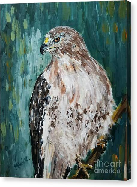 Canvas Print featuring the painting Hawk by Maria Langgle