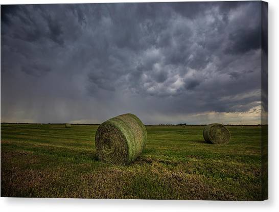 Hay Bales Canvas Print - Hay Bales And Rain  by Aaron J Groen