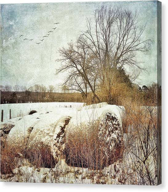 Hay Bales In Snow Canvas Print