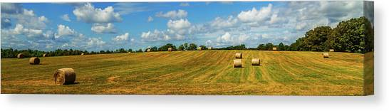 Canvas Print featuring the photograph Hay Bales Panoramic by Barry Jones