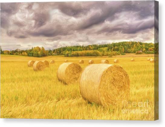 Hay Bales Canvas Print - Hay Bales by Veikko Suikkanen