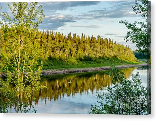 Northwest Territories Canvas Print - Hay River In The Evening by Lisa Killins
