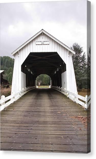 Hayden Bridge Covered Bridge Canvas Print by John Higby
