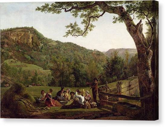 Picnic Canvas Print - Haymakers Picnicking In A Field by Jean Louis De Marne